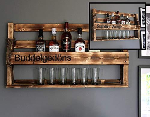 Dekorie Holz Whiskey Regal mit Gläserhalter Vintage Shabby mit Druck | fertig montiert (Braun (geflammt)) (Buddel Gedöns (geflammt))