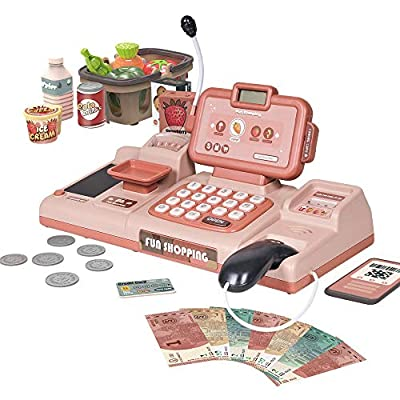 RVEE Toy Cash Register Shopping Pretend Play Money Machine -Realistic Actions & Sounds with Scanner, Calculator,Microphone,Credit Card Reader,Play Food Set -Early Educational Learning Set For Toddlers from RVEE