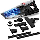 Rends Portable Handheld Vacuum, 8000PA Cordless Hand Vacuum with Wooden Floor Brush, Rechargeable Dry Handheld Vacuum Cleaner for Pet Hair, Dust, Home, and Car Cleaning (Black)