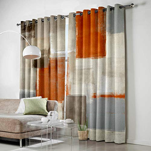 Fantasy Staring Thermal Insulated Blackout Curtain for Bed Room- Orange Brown Gray Paint Art Graffiti Darkening Blackout Curtain with Grommet, Set of 2 Panels, 52' x 63'
