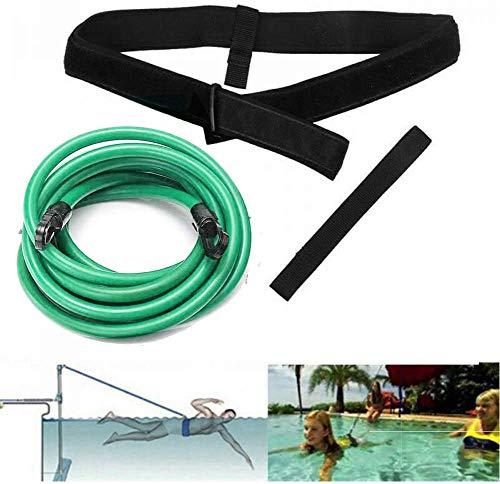 FBSPORT Swim Training Belts, Swimming Training Resistance Belt, Swim Tether Stationary Swimming Belt Swim Harness Static Swim Resistance Bands Bungee Cords for Adult Kids 6mm x 9mm x 3m, Green