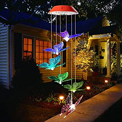 Mosteck Wind Chimes Outdoor, Solar Butterfly Wind Chimes, Color Changing Solar Mobile Wind Chime Outdoor Mobile Hanging Patio Lights for Yard Garden Outdoor Decor, Best Birthday Gifts for Mom Grandma