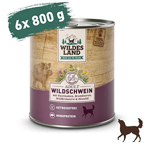 Wildes Land Classic Adult Wildschwein mit Pastinake, Brombeeren, Wildkräutern und Distelöl Nassfutter 6 x 800 g