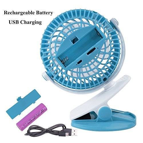 SkyGenius Battery Operated Clip on Stroller Fan, Portable Mini Desk Fan Rechargeable(Blue)