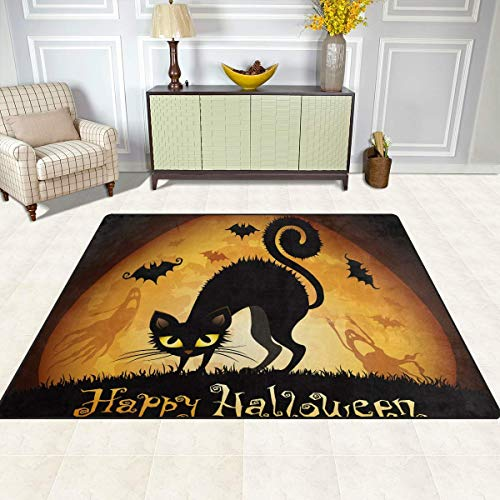 Joe-shop Halloween Black Cat Ghost Moon Area Tappeti Tappetini Tappetino Runner Tappeto per Soggiorno Camera da Letto Ingresso 60x39 Pollici / 150x100 cm