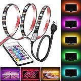 LucaSng - Striscia di luci LED da 2 m per TV 40-60 pollici, retroilluminato USB con telecomando, 16 colori 5050 sbieco HDTV, per 40-60