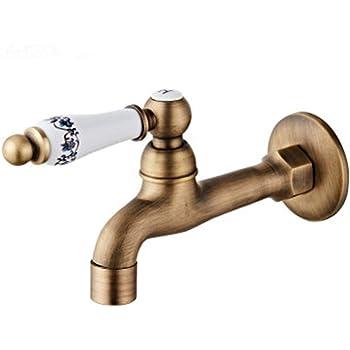 Grifo de agua fría de pared para lavabo de baño, bañera de latón, grifos para jardín, patio, lavadora, fregadero, piscina, grifos: Amazon.es: Bricolaje y herramientas