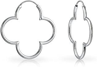 Simple Flower Shaped Thin Tube Endless Clover Hoop Earrings For Women For Teen Rose 14K Gold Plated 925 Sterling Silver