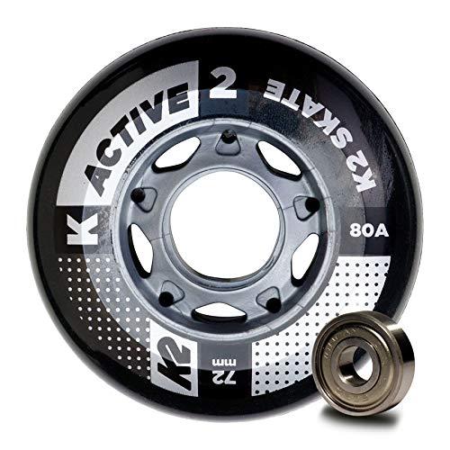 K2 Inline Skates Rollenset 72 mm Active Wheel / ILQ 5 Ersatzrollen & Kugellager  - Schwarz - 8 Rollen inkl. Kugellager - 30B3007.1.1.1SIZ