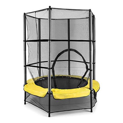 Klarfit Rocketkid - Trampolin, Gartentrampolin, Outdoor-Trampolin, 140 cm Durchmesser, verschließbares Sicherheitsnetz, Bungeeseil-Federung, bis max. 50 kg belastbar, gelb
