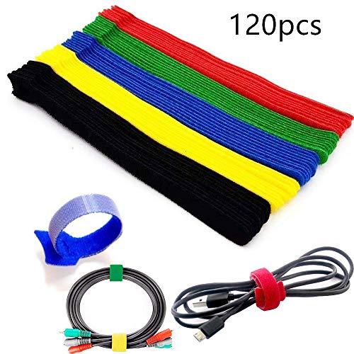 Yull Store 120 Stücke 5 Bunt Kabel-Klettband Kabelklett Kabelbinder Klettbinder Klettverschluss Büro Kabelklett Seilklett mit Klettverschluss für Kabel und Kabelmanagement