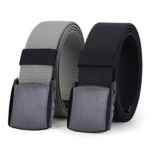 WHIPPY 2 Pack Elastic Stretch Belt for Men, Nickle Free Hiking Nylon Belt in YKK Buckle (Black Gray, Fit Pants Below 35 Inches)