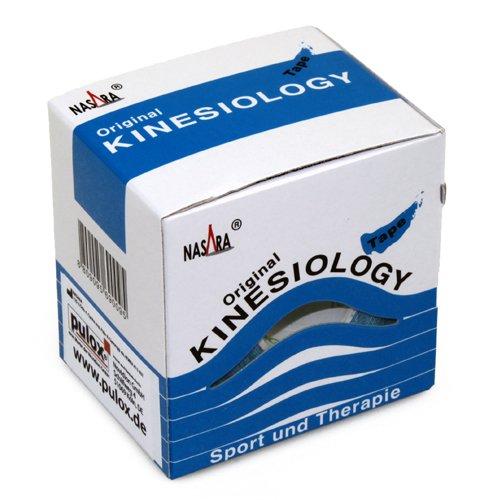 2x NASARA Kinesiologie Tape kinesiologische Tapes im Set * 5m x 50mm (2er 1x blau 1x pink) - 2