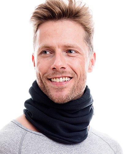 Hilltop Polar Multifunktionstuch/Motorradmaske/Skimaske/Kälteschutz/Gesichtsmaske/Halswärmer/Polar Halstuch mit Kordelzug 100% Fleece, Design/Farbe:anthrazit doppellagig
