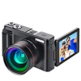 Digital Vlogging Camera YouTube Vlog Camera HD 1080P 30FPS 24MP Camcorder with 3.0' IPS Flip Screen, WiFi Function, Wide Angle Lens,16X Digital Zoom, 32GB SD Card, 2 Batteries