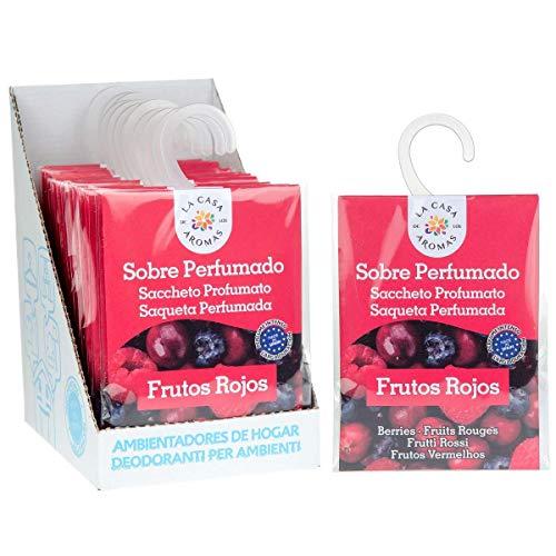 Set de 12 Sobres Perfumados, Bolsitas Aromáticas de Frutos Rojos, Saquitos para el Armario, Cajón, Ropa de Bebé, Zapatero, Maleta, Eliminan el Mal Olor