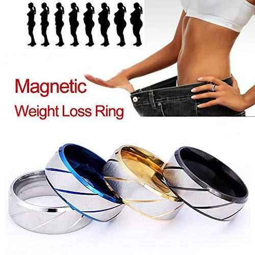 LONG-X Anneau Anti-Cellulite Magnétique De Mode Perdre du Poids Produits Minceur Fitness Réduire Le Poids Anneau Bijoux De Santé Magnétique,Noir,16mm