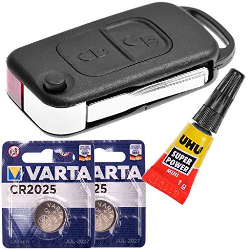 Repair Reparatur Satz Auto Schlüssel Austausch Gehäuse mit 2 Tasten + HU44 Rohling + Batterie kompatibel mit Mercedes Benz W168 R170 W414 W903 Chrysler Crossfire