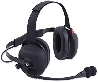 Rugged Radios H43-BLK-K Black Rubber Coated Two-Way Behind The Head Racing Headset with Dynamic Noise Cancelling Mic and 3.5mm Input Jack for Music and Scanners