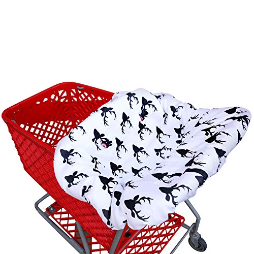 Shopping cart Covers for Baby | High Chair and Grocery Cover for Babies | Infants |Toddlers Trolley Seat for Boys and Girls (Black White Buck)