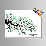 Lona de pintura de huellas dactilares personalizada - Lienzo impermeable Huella digital de bricolaje Pintura de dedo de personalidad de árbol de signos (contiene 12 colores de tinta) , 30*40