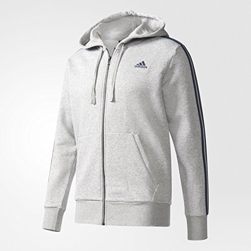adidas Herren Essentials 3 Streifen Kapuzenjacke, Medium Grey Heather/Collegiate Navy, M