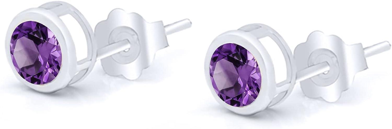 Gem Max 73% OFF Stone King 0.90 Ct Round Purple 5mm Amethyst White Gold 14K safety