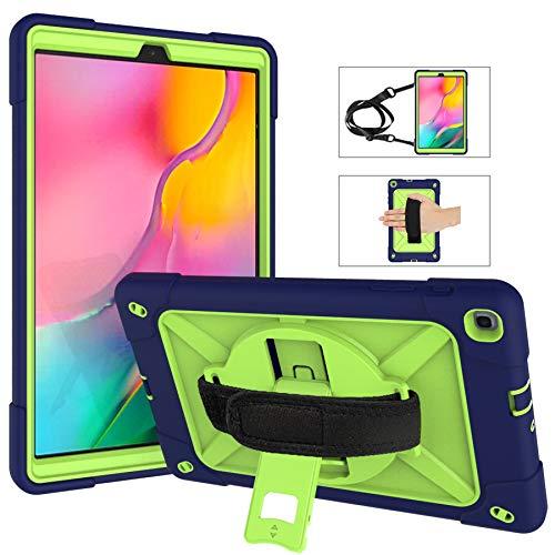 Funda resistente para Samsung Galaxy Tab A 10.1 (2019), funda de transporte con correa de hombro/correa de mano, rotación de 360 grados con función atril, 3 capas de protección a prueba de golpes para Samsung Galaxy Tab A 10.1 (2019)