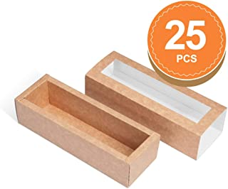 BAKIPACK Macaron Boxes for 6 Macarons (Pack of 25) Kraft Macaron Boxes with Interior Meament 7.25