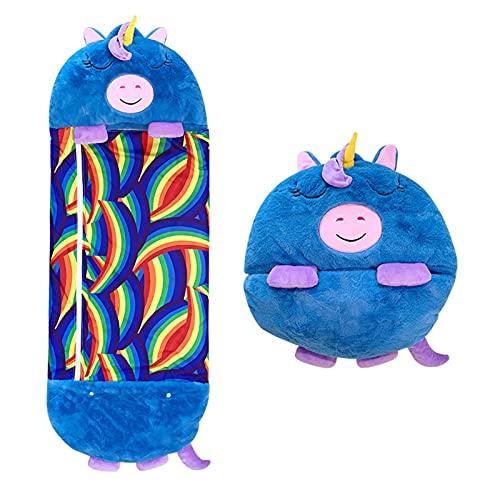 PZV Glückliche Nappner-Kissen- und Zwei-in-One-Cartoon-Tier-Faltbare Schlafsack All-Saison-Kinder- und Jungen-super weiche, warme und komfortable kompakte Schlafsack (Color : D, Size : Medium)