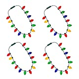 Windy City Novelties LED Light Up Christmas Bulb Necklace Party Favors (4 Pack - 13 Bulbs)