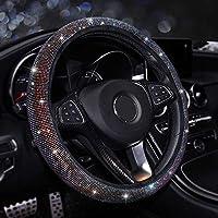 NASHDZ 女性用レディクリスタルカーステアリングホイールカバーレッドピンクパープルラインストーン38cm15''、トヨタカローラに適合RAV AURIS CAMRY AVENSIS