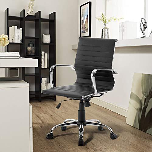 FurnitureR Silla giratoria ejecutiva de oficina ajustable, respaldo alto acolchado, acanalado alto, cuero de la PU, silla para computadora con apoyabrazos con ruedas, base cromada, muebles para el hogar, recepción en la sala de conferencias Neg