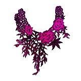 Scrox 1pcs Bordados para Ropa Termoadhesivos Exquisito Flor Patch Sticker Cuellos Parches Bordados DIY Accesorios Decorativos Manualidades (Púrpura Oscuro)