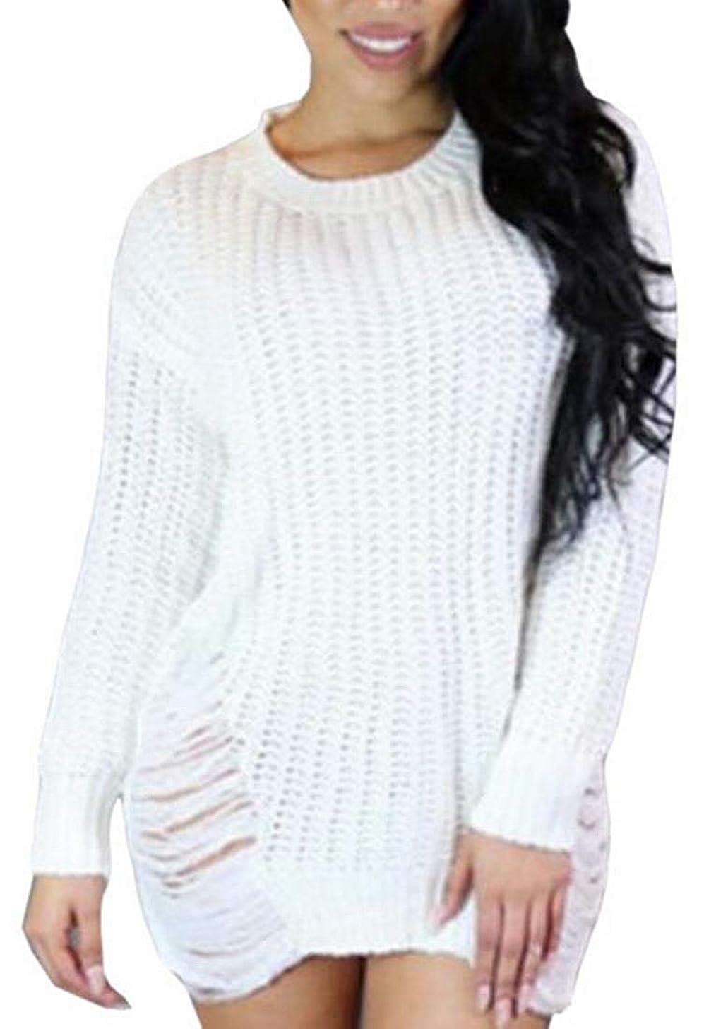 相互接続悪化させる配分女性長袖リッピングホールニットウェアジャンパーヒップスターセータードレス White US Small