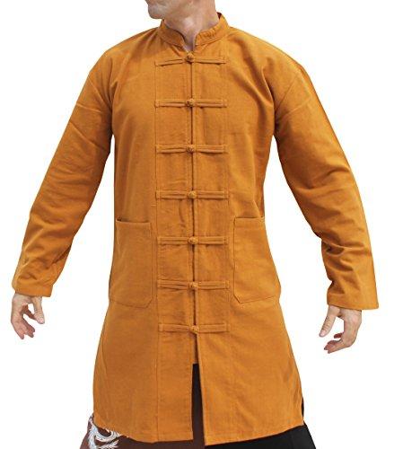 RaanPahMuang Kung Fu Tai Chi Mandarine Renaissance Kostüm Baumwolle Jacke Hemd - Braun - X-Large