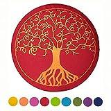 maylow Yoga mit Herz  Yogakissen Meditationskissen mit Stickerei Baum des Lebens Bezug und Inlett 100% Baumwolle mit Dinkelspelz gefüllt (buddhistische rot mit Kordelzug)