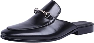 Santimon Mules Men Leather Buckle Casual Penny Loafer Slippers Slip on Shoes Sandals