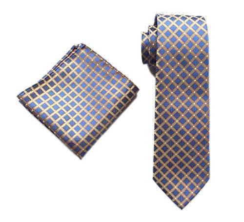 Men's Silk Blue Yellow Ties Textile Business Diamond Plaids Neckties for Wedding Diamond Patterned Silk Tie