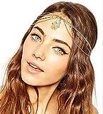 Sither - Cadena de cabeza para mujer, diseño de frente, color plateado