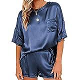 FAYHRH Pijama Mujer Verano Cortos,Pijama de Gasa de Color Puro, Pantalones Cortos de Manga Corta, Traje de Dos Piezas para Servicio a Domicilio-Azul Real_M