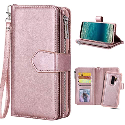 Hülle Galaxy S9 Plus Rose Gold, Galaxy S9 Plus Geldbeutel, Purple Angel Magnet Leder Handyhülle Abnehmbar Brieftasche Flip Case Cover im Ständer Kartenfach Schutztasche Schale Etui