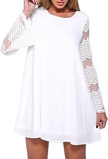 Landove Vestiti Donna Eleganti da Cerimonia Corta Chiffon Vestito Manica Lunga in Pizzo Maglietta Maniche Tromba T Shirt A...