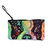 Billetera, Monederos, Boston Terrier Dean Russo Canvas Coin Purse Cute Pouch Change Purse 4.5 X 8.5 Inch with Zipper Cash Bag Small Wallet Card Key Case for Women,Coin Purse