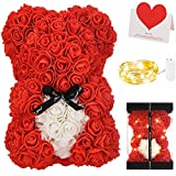 Rose Bear Teddy Flower, Zodight Rose Bear with Lights, Best Gift for Valentines Day, Anniversary, Mothers Day, Birthdays, Including Transparent Gift Box and Love Card (Red+White Heart)