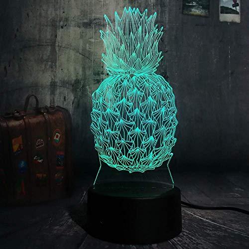3D Ananas luz de noche LED 7 cambio de color decoración del hogar niños niños bebé lámpara de mesa para dormir regalos de vacaciones
