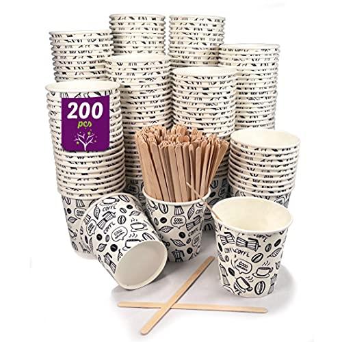200 vasos desechables café de 120 ml, vasos de cartón desechables con paletinas de madera para café. Para bebidas frías y calientes.