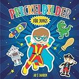 Prickelbilder für Jungs ab 3 Jahren: Prickelblock für Kinder | Malen, Prickeln, Ausschneiden und Basteln | Bastelbuch mit Prickelvorlagen wie Dinosaurier, Superheld, Bagger, Astronaut und vielen mehr