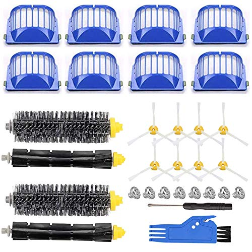 Replacement Parts for iRobot Roomba 600 Series 690 680 660 651 650 614 610 500 Series 595 585 564 552 Vacuum, Replenishment Kit 8 Filters, 8 Side Brushes, 2 Set Bristle and Beater Brush ,2 Tools