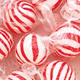 Jumbo Red & White Peppermint Hard Candy Balls 3LB Bag